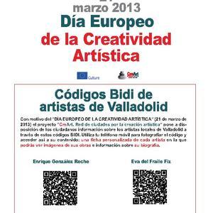 Códigos BIDI a fichas de artistas locales en escaparates de la ciudad